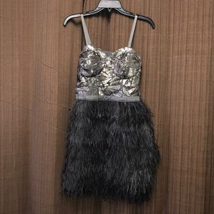 BEBE Silver Sequenced Feathered Dress